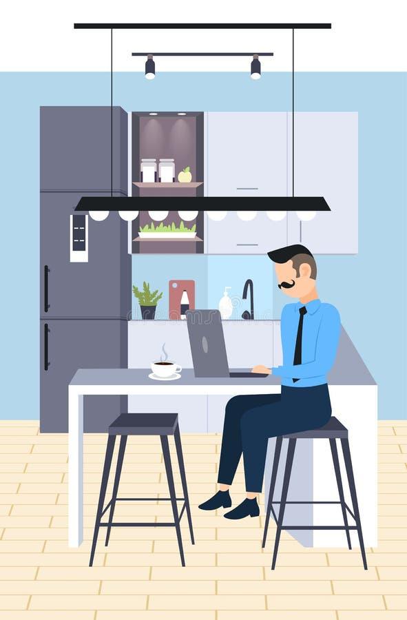 坐在工作场所书桌商人自由职业者的商人使用膝上型计算机运作的过程概念现代厨房 向量例证