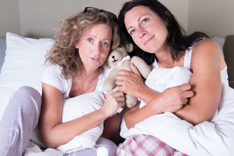 坐在床和作梦上的两名可爱的妇女 免版税库存照片
