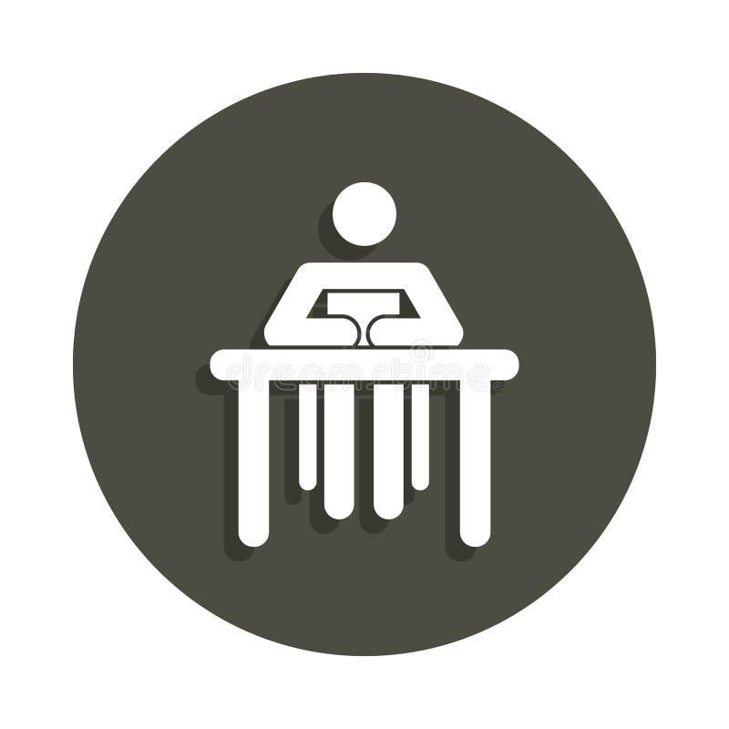 坐在徽章样式的一个书象后的妇女的剪影 一图表汇集象可以为UI, UX使用 库存例证
