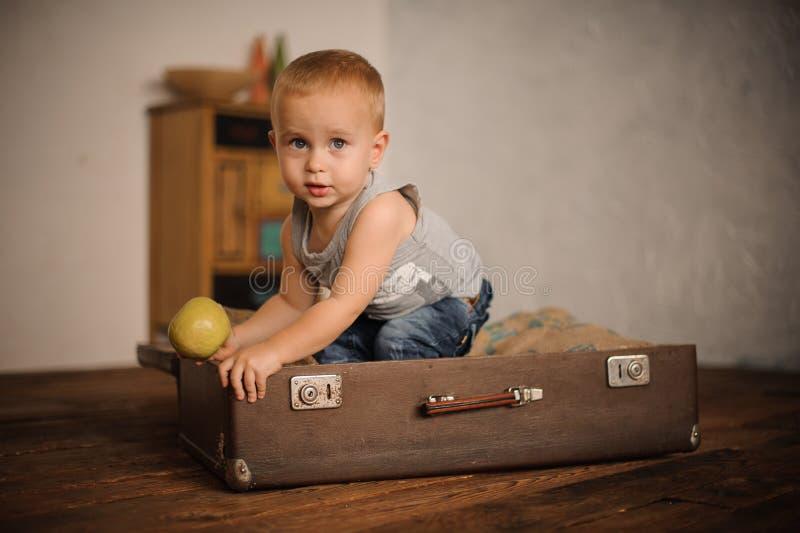 坐在手提箱和拿着苹果的逗人喜爱的小男孩 库存照片