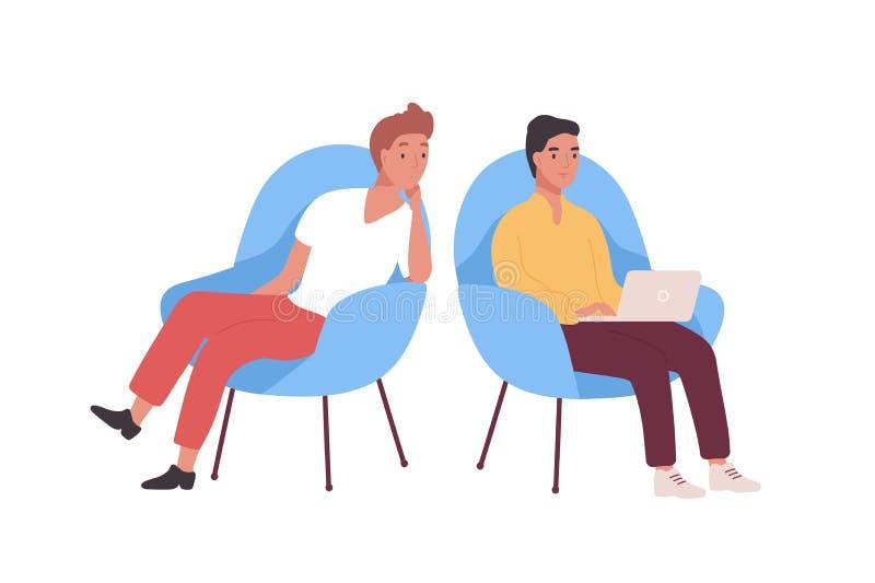 坐在扶手椅子和研究手提电脑的对微笑的雇员、商人或者办公室工作者 ?? 库存例证