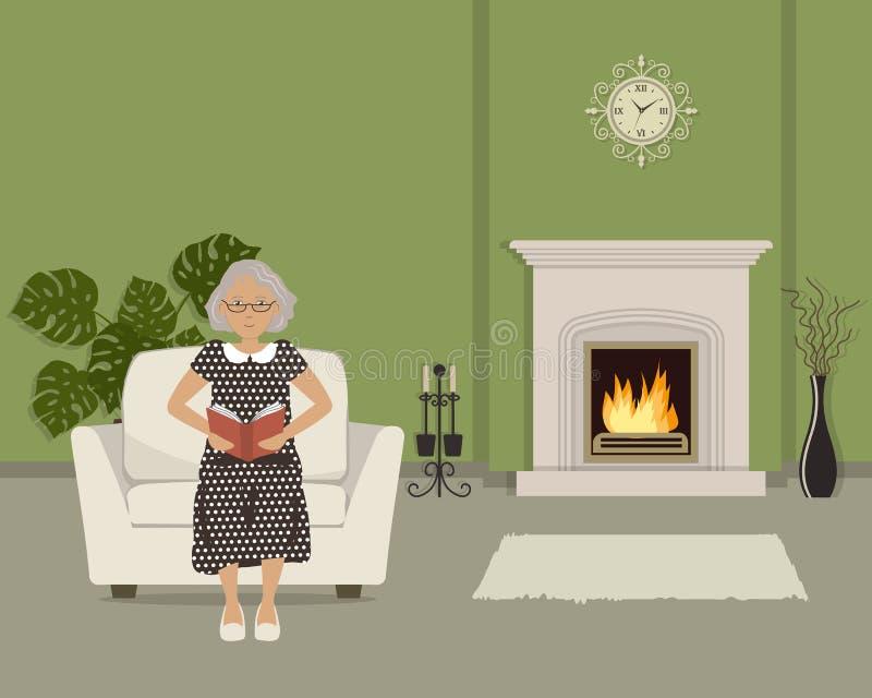 坐在扶手椅子和读书的年长妇女 库存例证