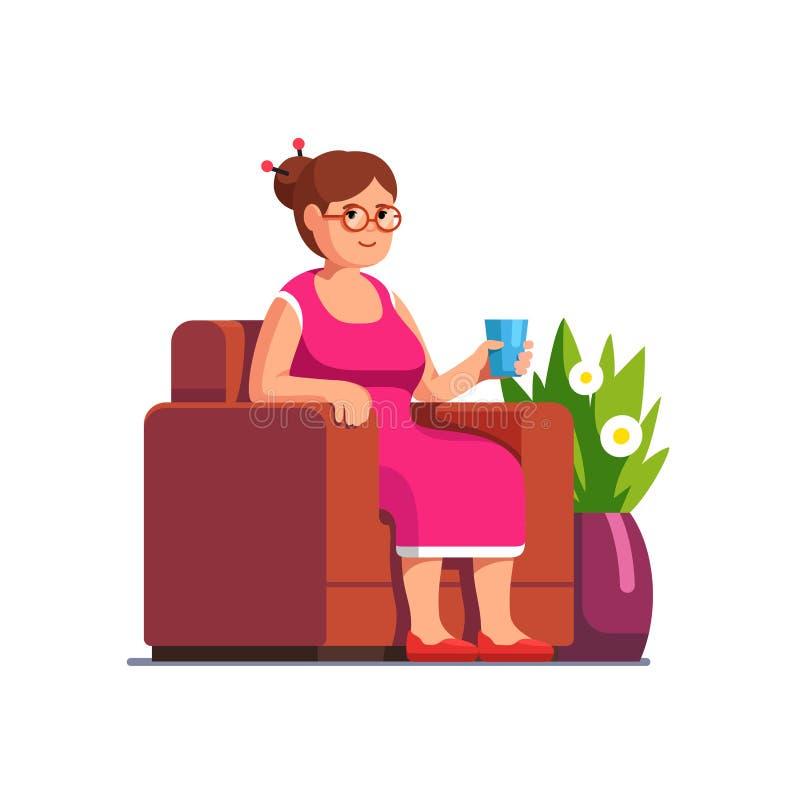 坐在扶手椅子的资深妇女在客厅 库存例证
