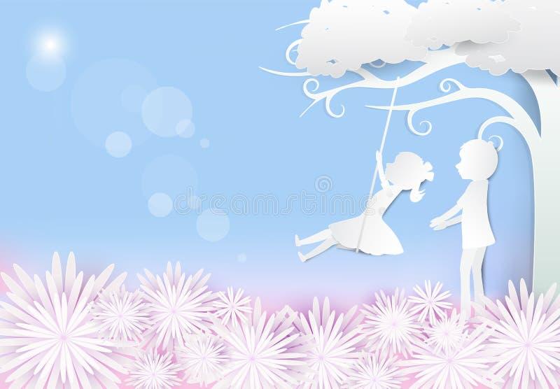 坐在摇摆和在与男孩的树下的女孩 库存例证