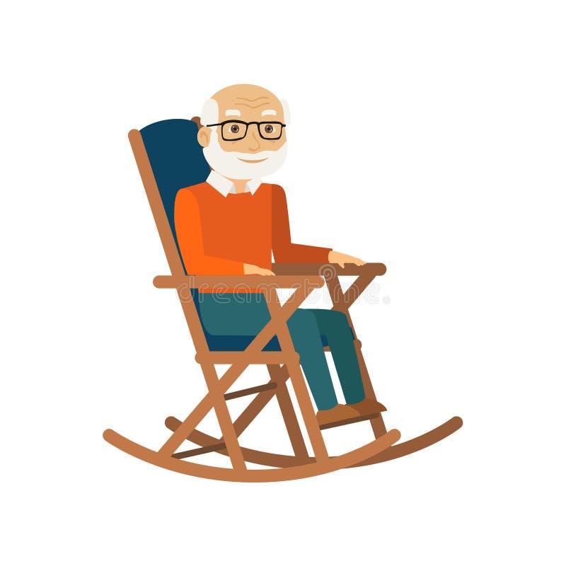 坐在摇椅的老人 向量 库存例证