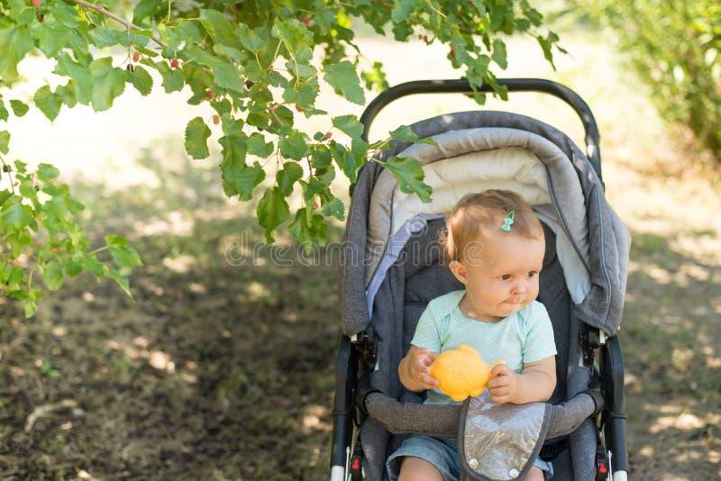 坐在摇篮车和等待的妈妈的小和美女 免版税图库摄影