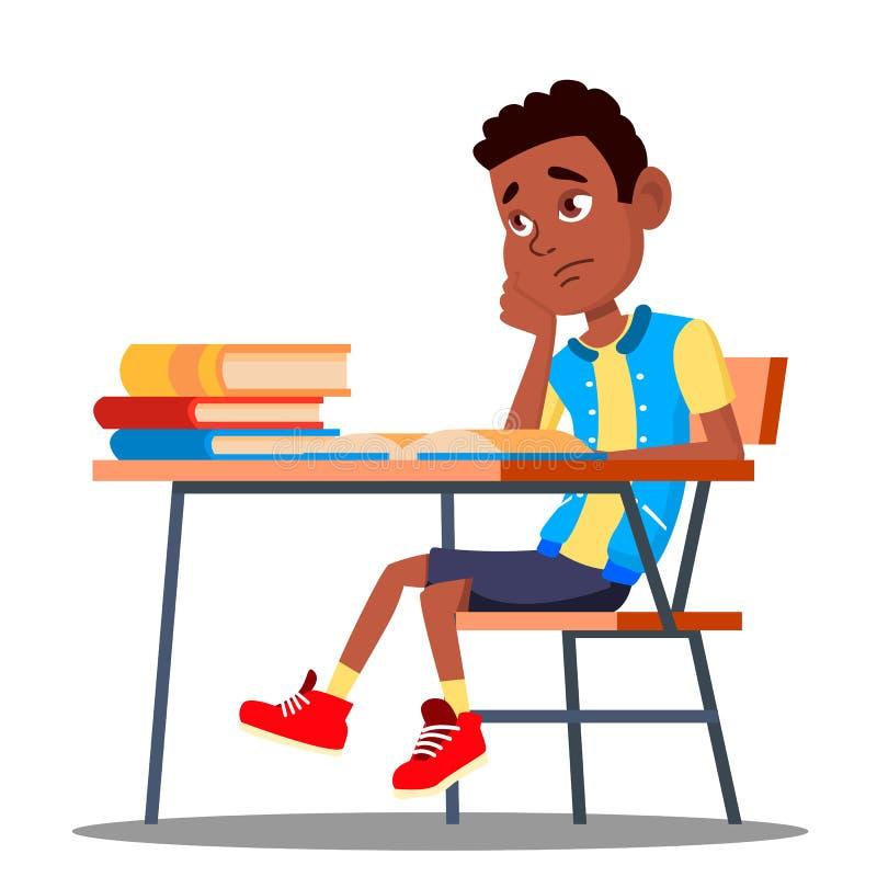 坐在教室传染媒介的一张书桌的哀伤的孩子 学校 教育 按钮查出的现有量例证推进s启动妇女 库存例证