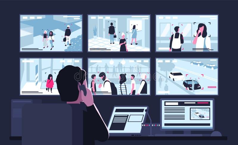 坐在显示从监视器的显示器前面的黑暗的控制室的安全部门工作者录影 向量例证