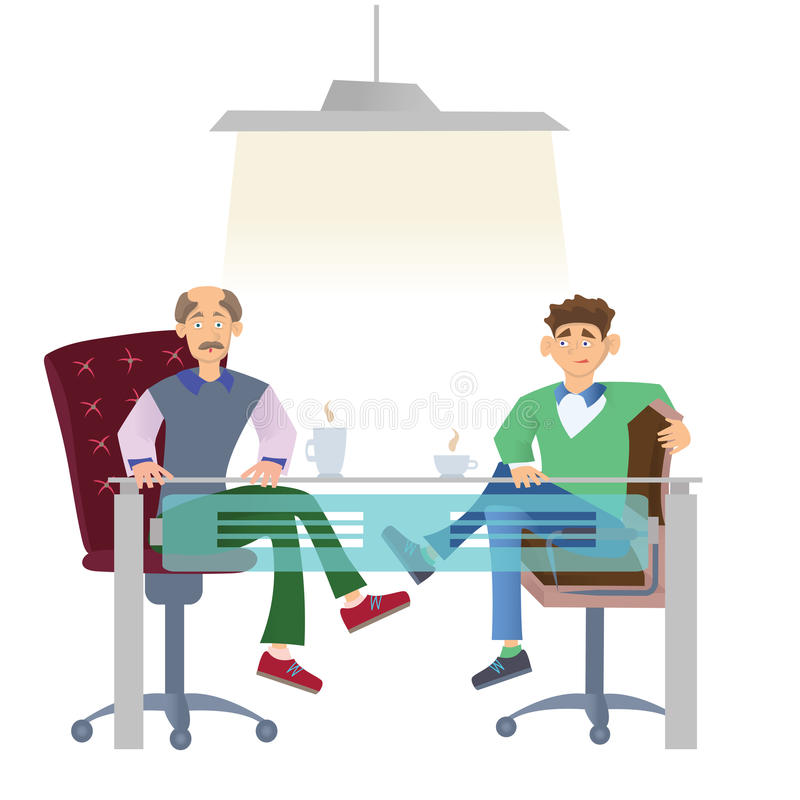坐在有一杯咖啡的办公桌的便衣的两个人 工作面试或业务会议 向量 库存例证