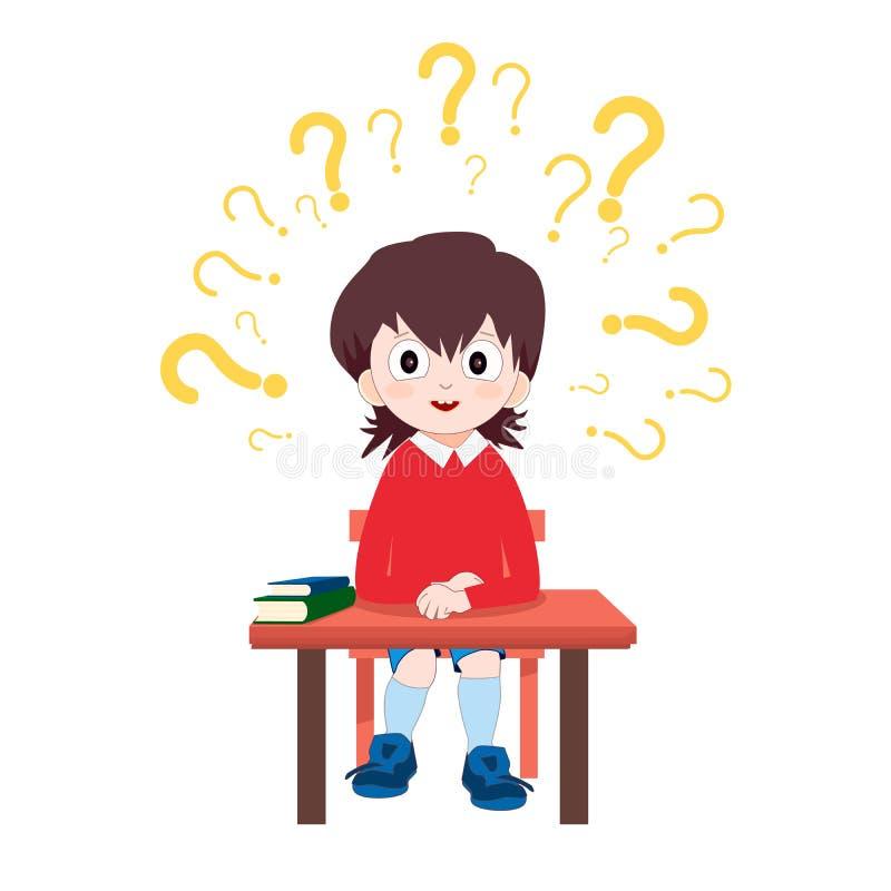 坐在有书的书桌的制服的男小学生 孩子学校教育小册子的被隔绝的传染媒介例证 库存例证