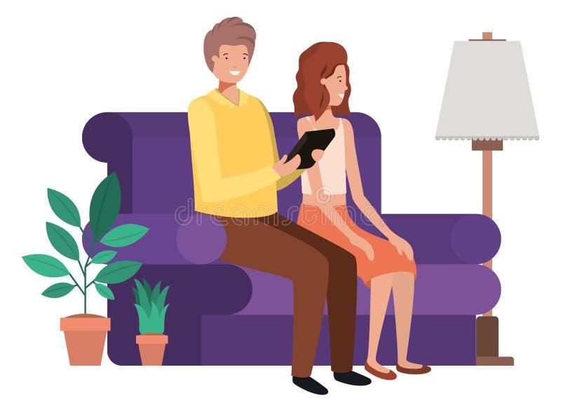 坐在有片剂的客厅的夫妇 向量例证
