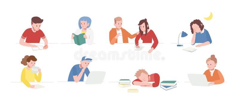 坐在有膝上型计算机的,阅读书,文字书桌的十几岁的男孩和女孩的汇集,睡觉 套学校 皇族释放例证