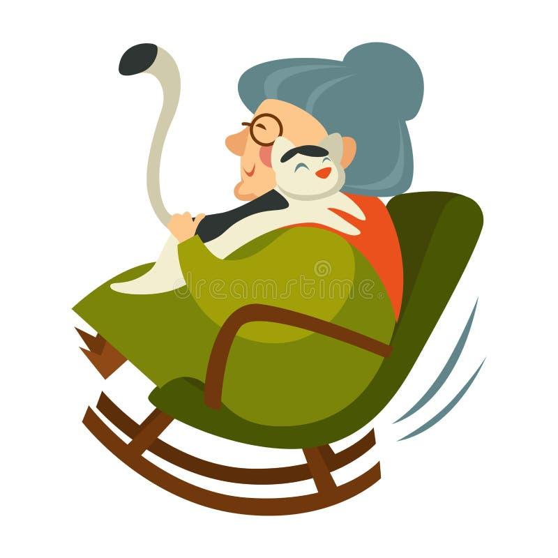 坐在木摇椅的退休的老妇人 皇族释放例证