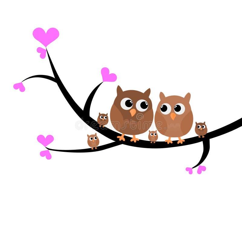 坐在树传染媒介例证的一个五颜六色的可爱的猫头鹰家庭 向量例证