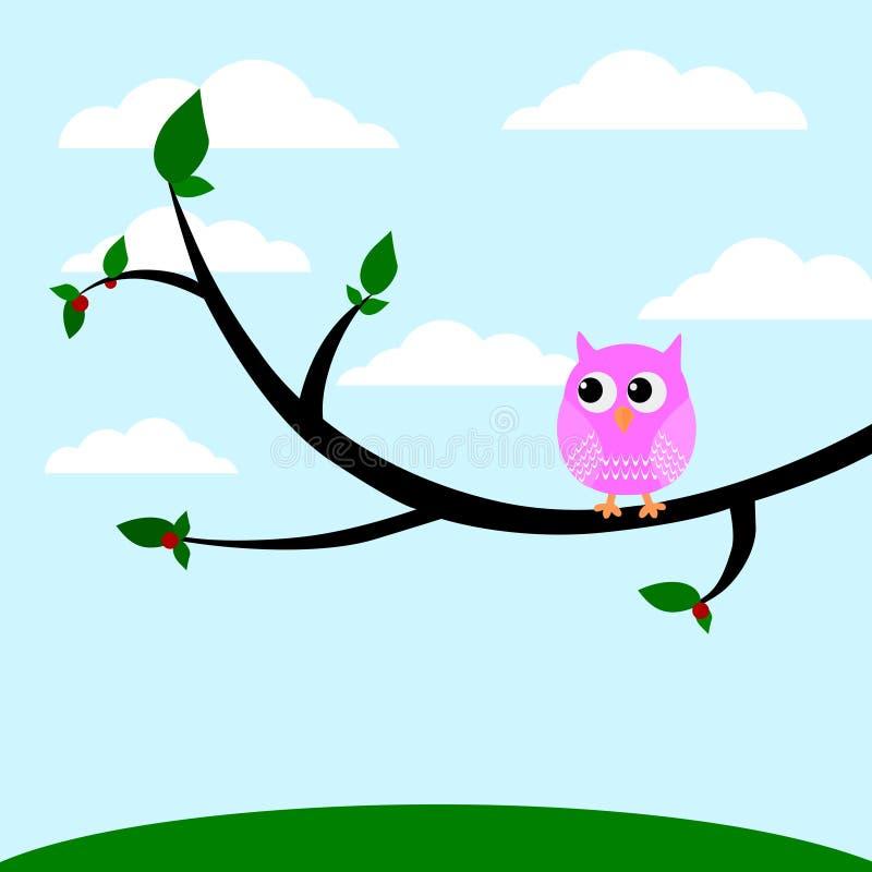坐在树传染媒介例证的一头逗人喜爱的猫头鹰 库存例证