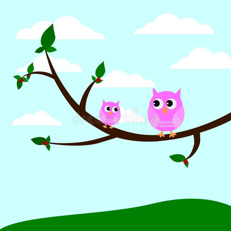 坐在树的两头逗人喜爱的猫头鹰导航例证 向量例证