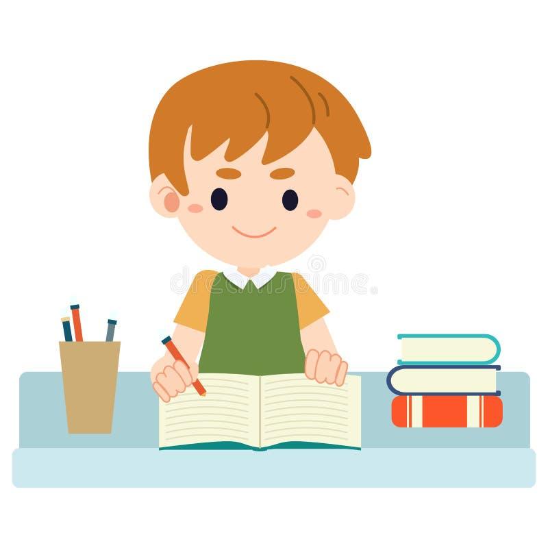 坐在桌上和做家庭作业的男孩 向量例证