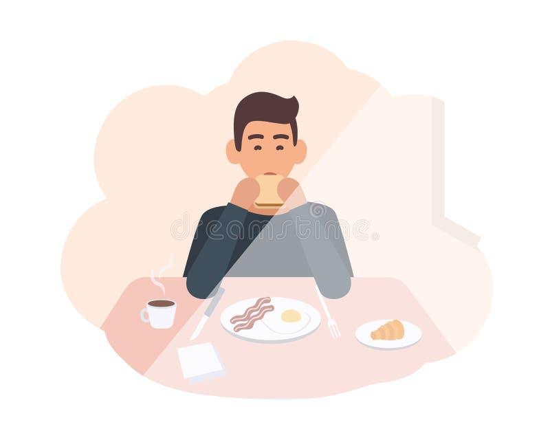 坐在桌上和吃可口早晨膳食的愉快的年轻人 食用的男性角色早餐在家 男孩微笑 向量例证