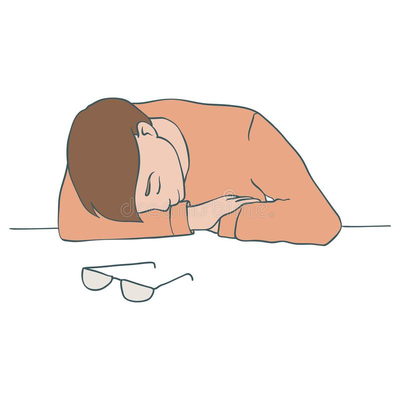 坐在桌上和投入他的头的疲乏和乏味人的传染媒介例证在他的有闭合的眼睛的手上 向量例证