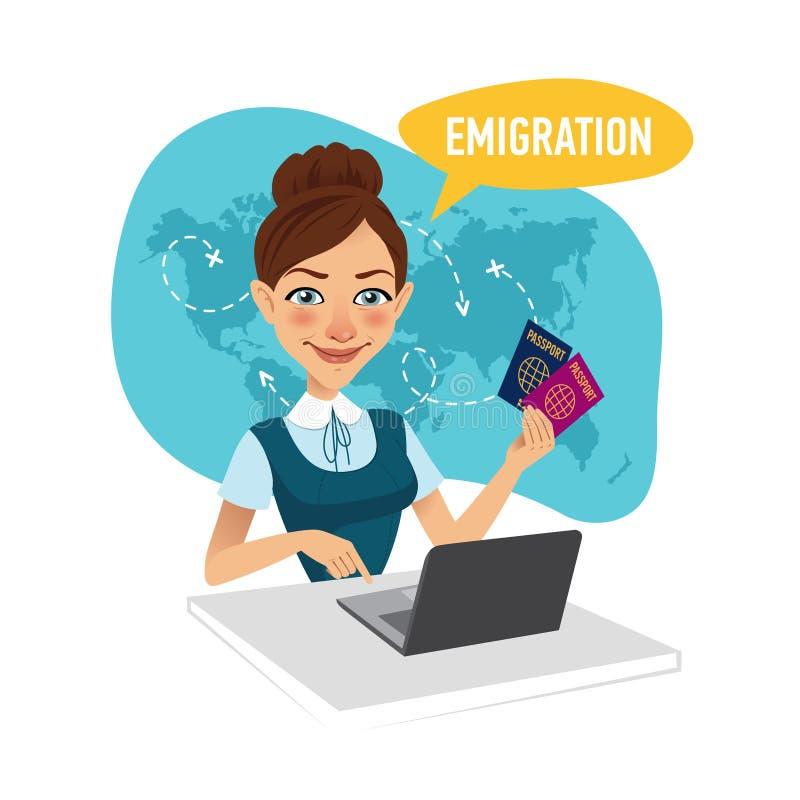 坐在桌上在办公室和工作为膝上型计算机的妇女 公司的雇员签证为移民做准备 库存例证