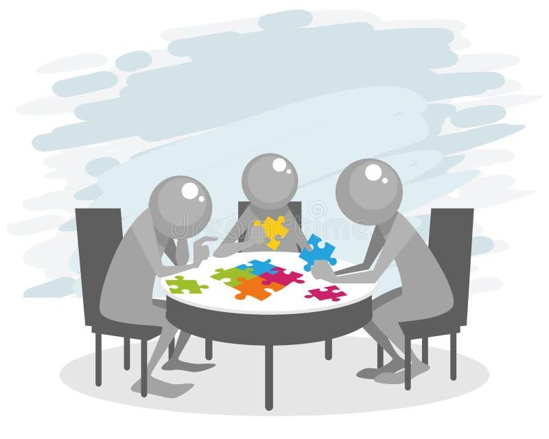 坐在桌上的团队工作 库存例证