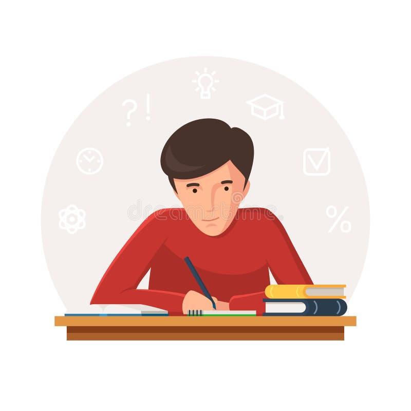 坐在桌上的学生 向量例证