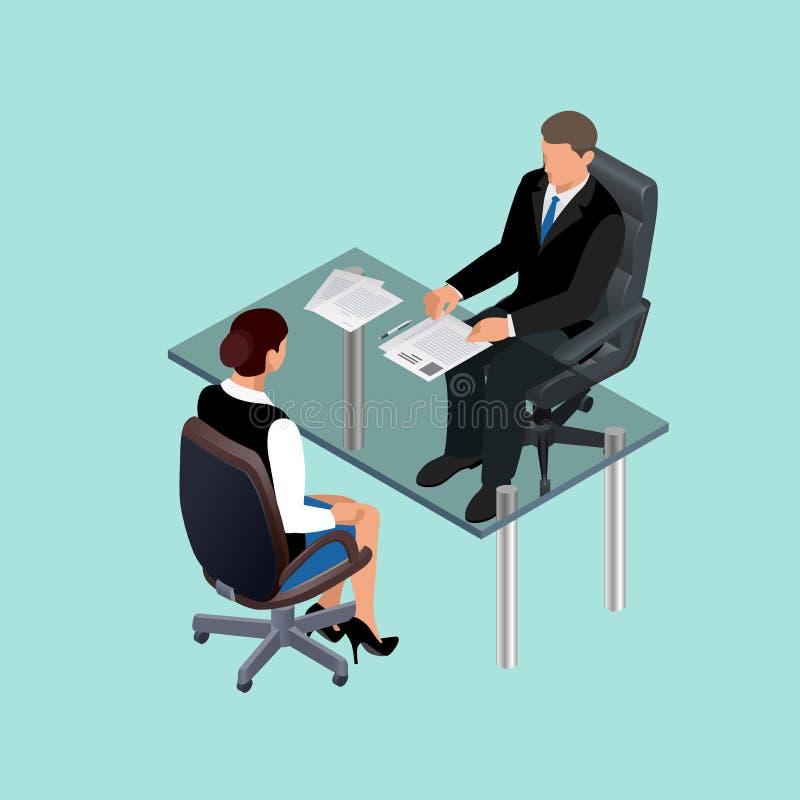 坐在桌上的衣服的商人 见面 成为歇斯底里的面试工作一他们 求职者 聘用的工作者的概念 库存例证