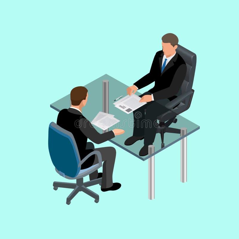 坐在桌上的衣服的商人 见面 成为歇斯底里的面试工作一他们 求职者 聘用的工作者的概念 皇族释放例证