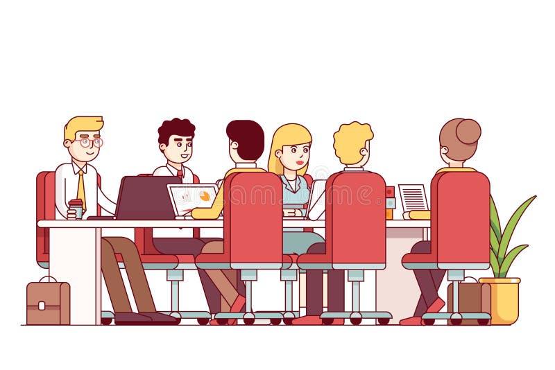坐在桌办公室会议室的企业队 向量例证. 插画 包括有 图片