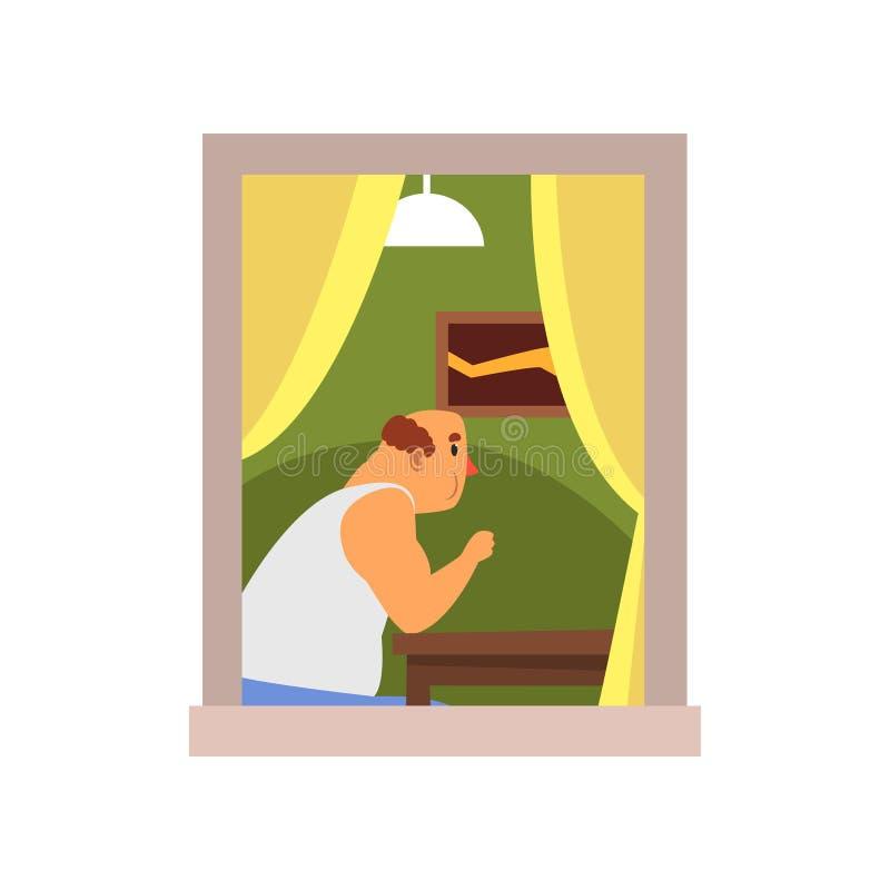 坐在桌后的动画片秃头人在他的房子 与图片的室内部在墙壁、灯和帷幕上在窗口 皇族释放例证