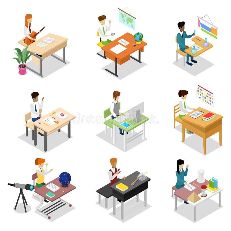 坐在桌等量3D集合的人们 向量例证