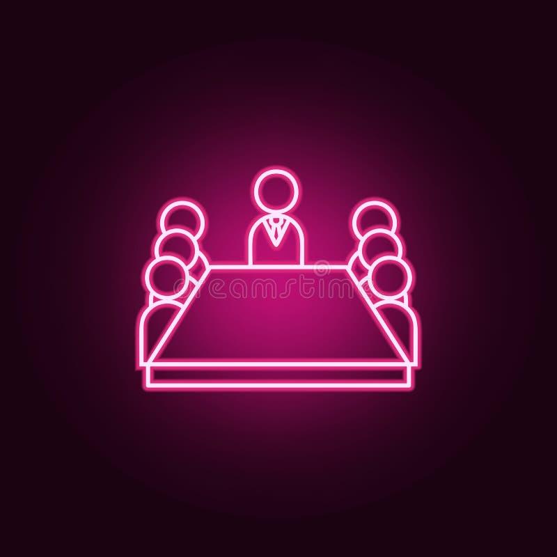 坐在桌霓虹象附近的证券交易经纪人行情室成员 团队工作集合的元素 r 向量例证