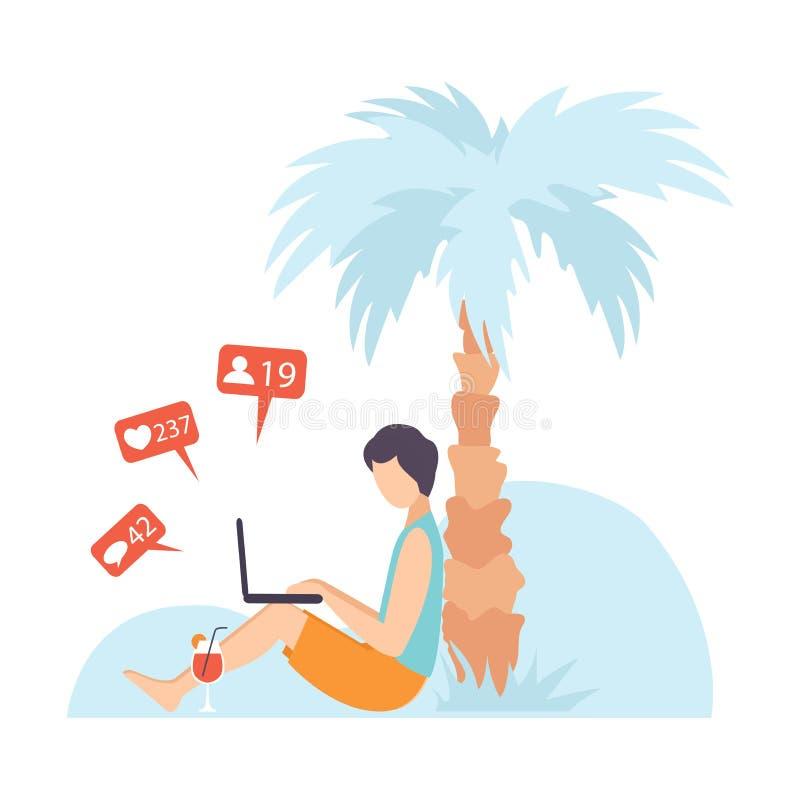 坐在棕榈树下和沟通通过互联网使用移动设备,人的年轻人聊天,写电子邮件或 皇族释放例证