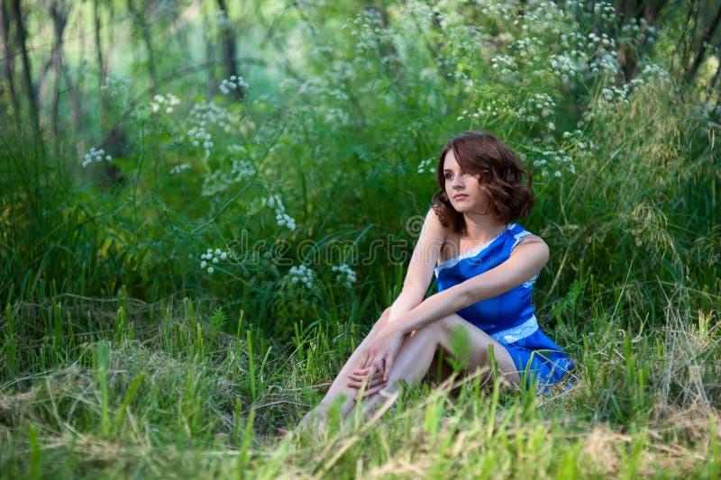 坐在森林沼地的美丽的女孩 库存图片