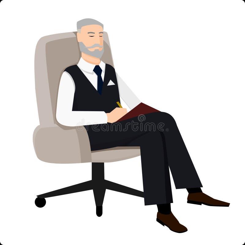 坐在椅子和做评论的心理分析家 免版税库存照片