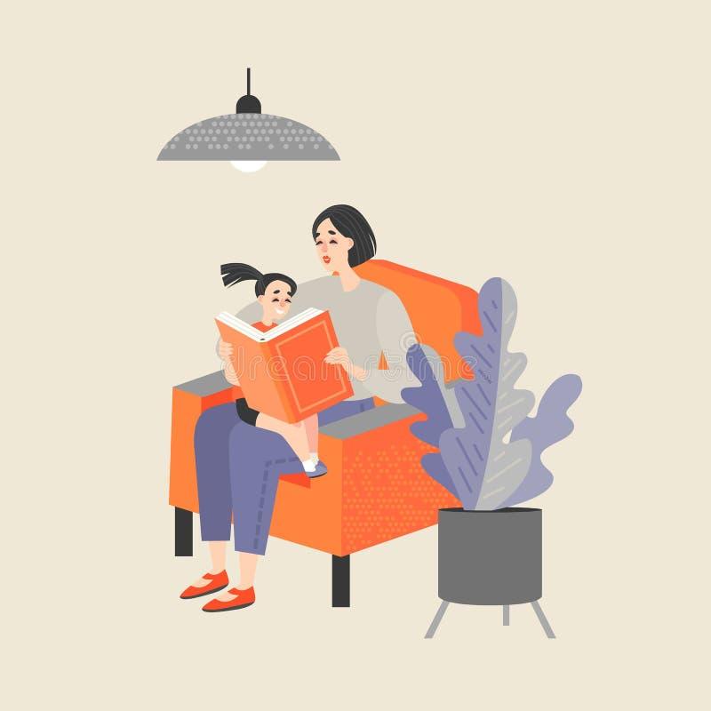 坐在椅子和读书的母亲对她的小女儿 库存例证