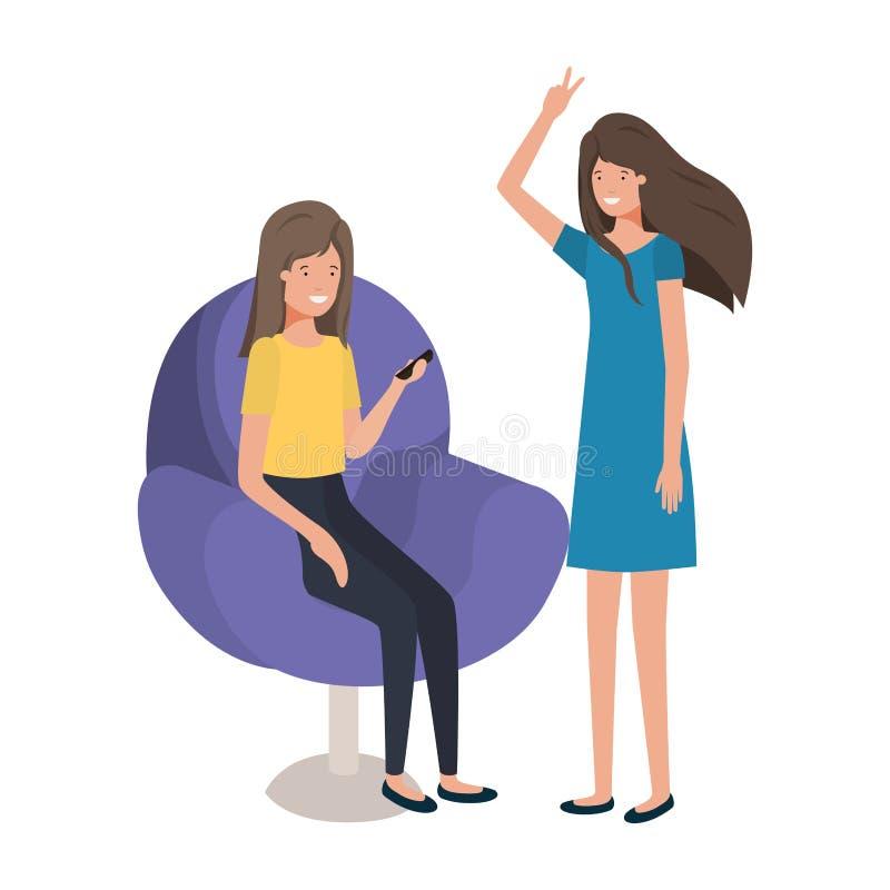 坐在椅子的年轻女人 库存例证