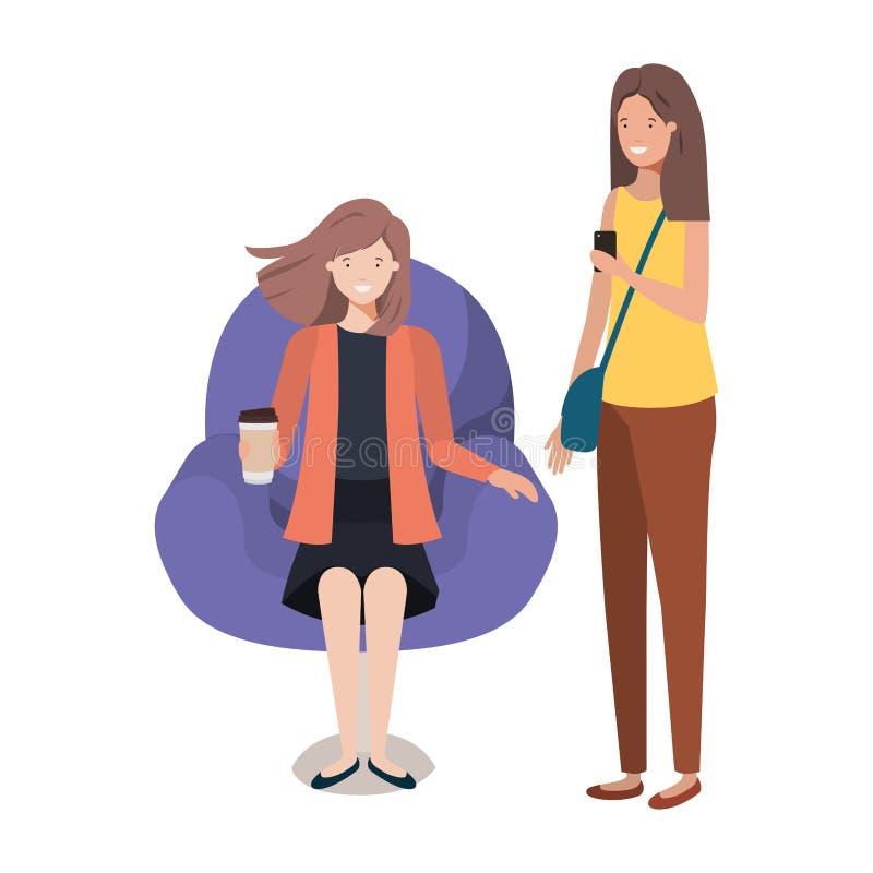 坐在椅子的年轻女人 皇族释放例证