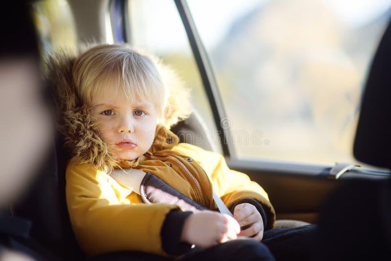 坐在汽车座位的相当小男孩画象在roadtrip或旅行期间 与孩子的家用汽车旅行 免版税库存图片