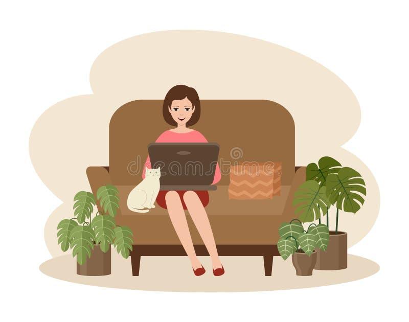 坐在沙发上的自由职业女性手提电脑 距离作业 库存例证
