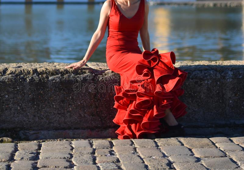 坐在河的边缘的红佛拉明柯舞曲礼服妇女 免版税库存照片