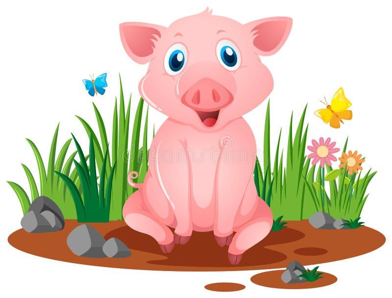 坐在泥泞的水坑的小的猪 向量例证