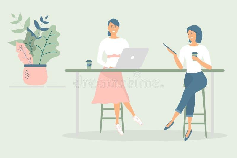 坐在现代办公室或咖啡馆的书桌的妇女朋友或同事,工作在笔记本和片剂,食用咖啡,谈话 ?? 库存例证
