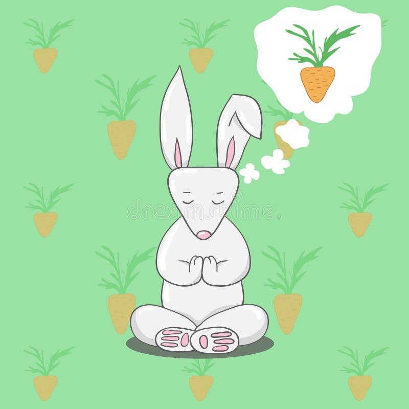 坐在瑜伽莲花姿势的逗人喜爱的兔宝宝 库存例证