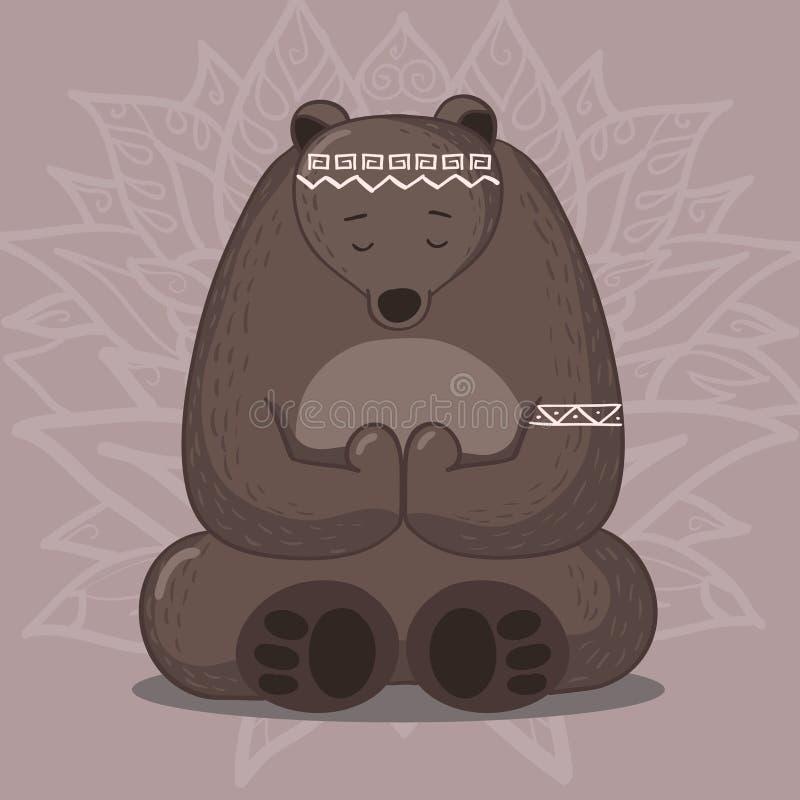 坐在瑜伽莲花姿势的逗人喜爱的熊 库存例证