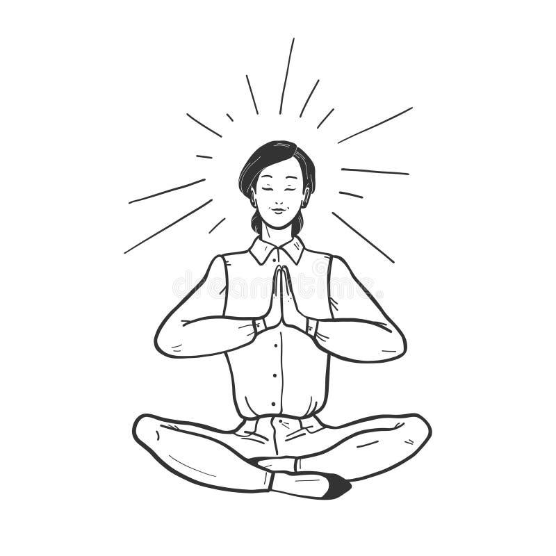 坐在瑜伽莲花asana姿势思考的营业所夫人的传染媒介例证被隔绝在轻的背景 向量例证