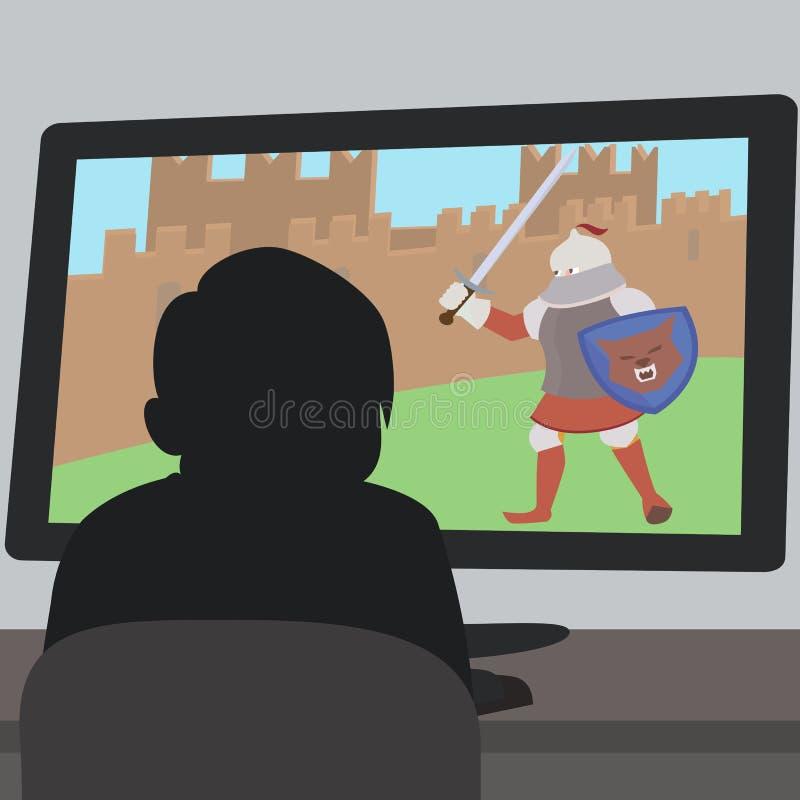 坐在电子游戏屏幕动画片前面的男孩 库存例证