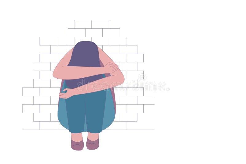 坐在砖墙边的沮丧或沮丧的女孩 向量例证