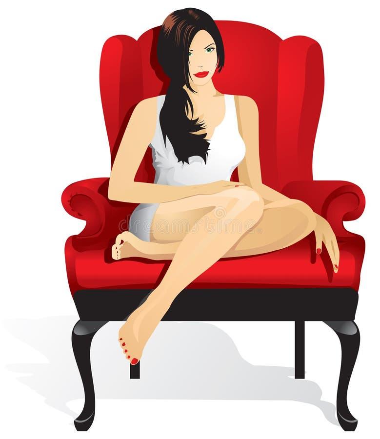 坐在红色椅子的美女 向量例证