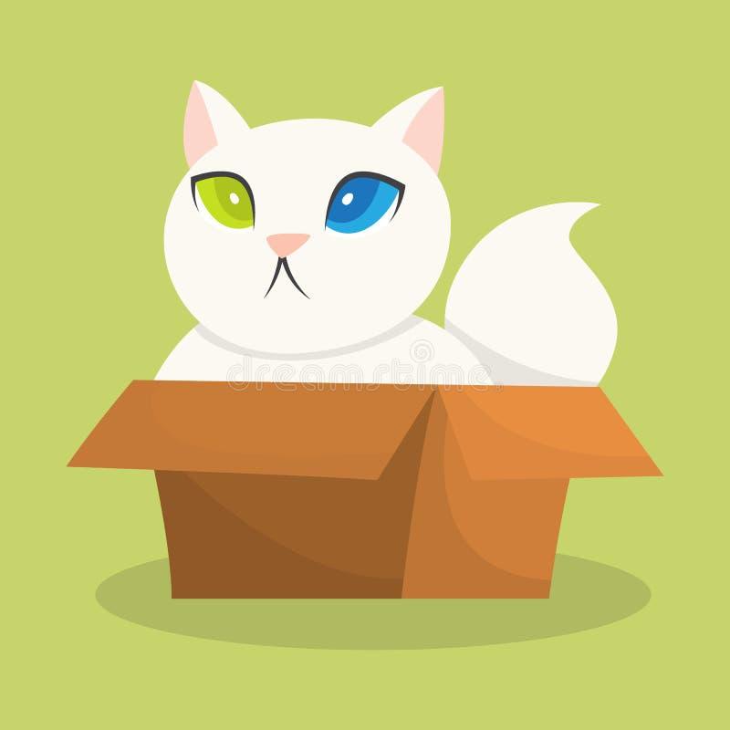 坐在纸盒箱子的滑稽的猫 皇族释放例证